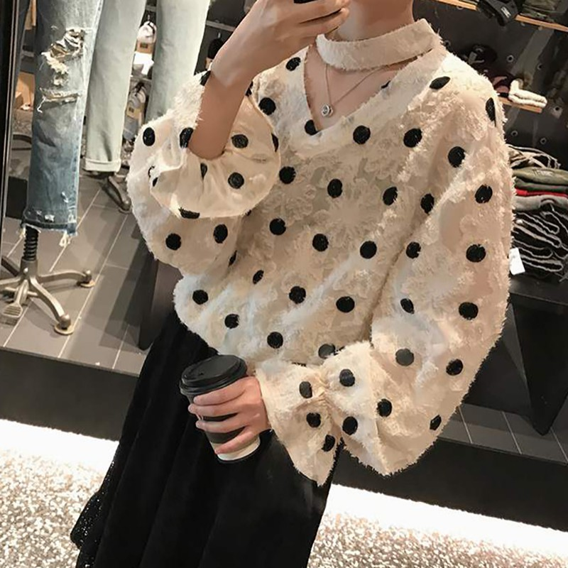 Women Autumn Cute   Blouse   Polka Dot   Shirts   Ruffles Loose Chiffon Korean Style Long Sleeve Loose   Shirt   Office Lady   Blouses