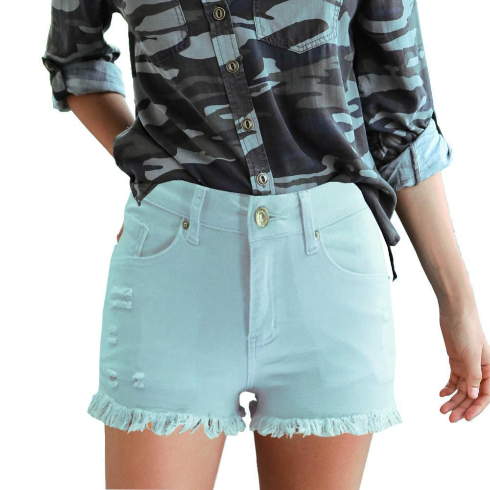 Fashion Embroidery Ripped Denim Shorts Floral High Waist Jeans Short Frayed Hole Shorts For Women Plus Size Summer Shorts