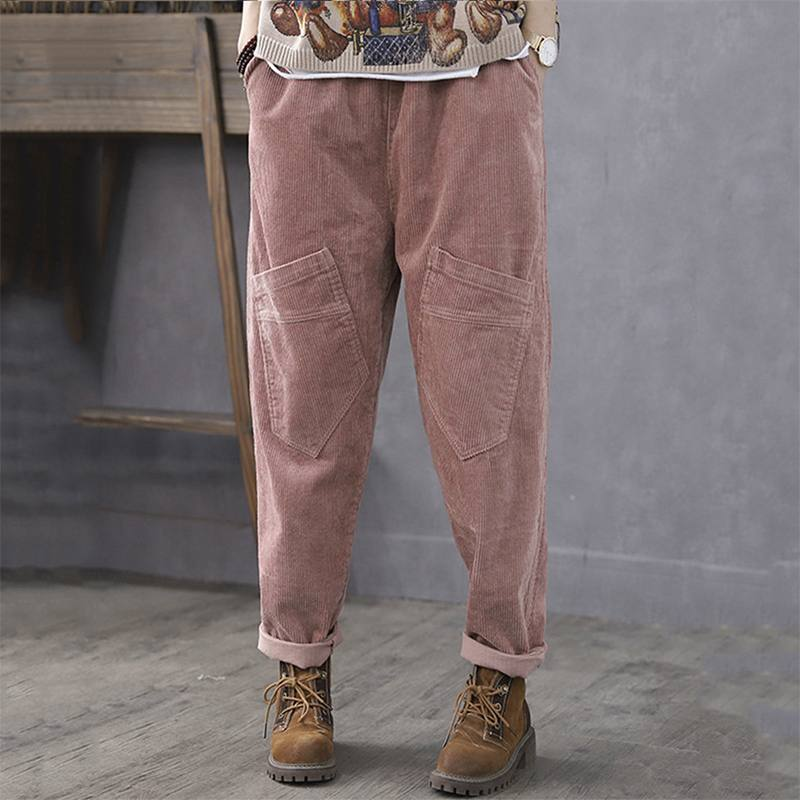 ZANZEA Vintage Elastic Waist Corduroy Pants Plus Size Women Solid Harem Pants Loose Casual Trousers Female Solid Pantalon Turnip