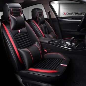 Cubierta de asiento de cuero PU de cobertura completa, fundas de asientos de coche de fibra de lino para mitsubishi galant l200 lancer 9 10 ex ix x montero outl