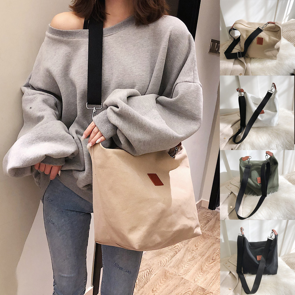 Tote Bags Women Canvas Bag Female Shoulder Bag Student Wild Large Capacity Messenger Bag Sac Courses Reutilisable#G2