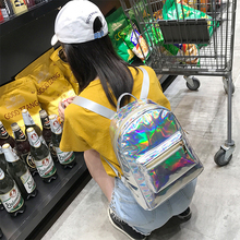 2019 Backpack New Women  Mini Travel Bags Silver Laser   Girls Shoulder Bag PU Leather Holographic недорого