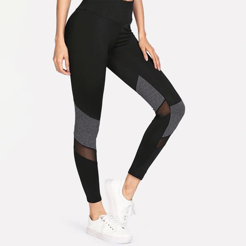 Women Mesh Patchwork Sexy Leggings Bodycon Elastic High Waist Black Lagging For Female 2019 Autumn Casual Sport Outwear Ladies