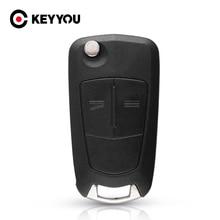 KEYYOU مفتاح سيارة قابل للطي مع 2 أزرار ، 10X HU43 ، حافظة لأوبل فوكسهول أسترا إتش كورسا دي فيكترا سي زافيرا أسترا فيكترا سيجنوم