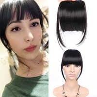 AliLeader czarne sztuczne włosy zakazy przodu schludny grzywka klip w Hairpiece Fringe przedłużanie włosów dla kobiet prosto syntetyczny czysty kolor