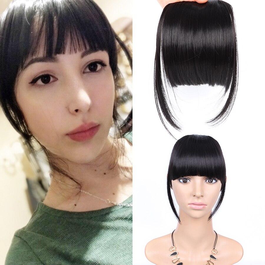 Черные искусственные волосы AliLeader Ban, спереди, аккуратные челки, зажим для волос, удлинители волос с бахромой для женщин, прямые синтетически...