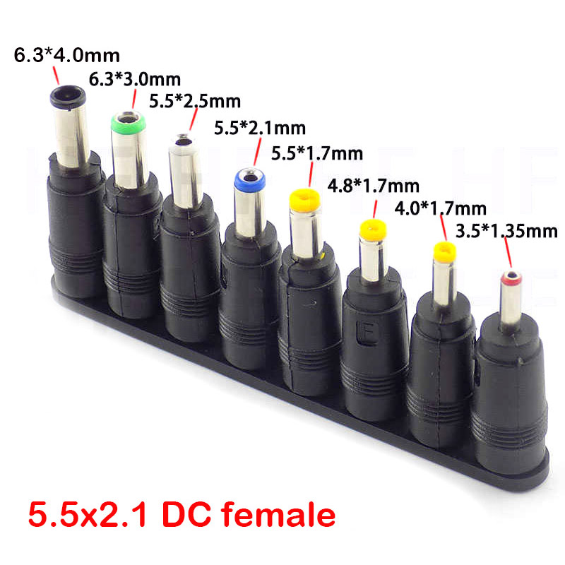 8pcs DC 5.5X 2.1 MM Female Jack Plug Adapter Connectors To 6.3 6.0 5.5 4.8 4.0 3.5mm 2.5 2.1 1.7 1.35mm Male Tips Power Adaptor