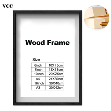Nature Solid Simple Wooden Picture Frame A4 A3 Black White Coffee Wood Color Photo for Wall Poster Certificate