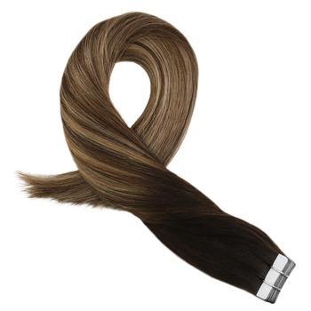 Moresoo Band in Haar Extensions Menschliches Haar Maschine Remy Haar Balayage Ombre Farbe # 1B zu #3 Braun Hervorgehoben mit #27 Blonde