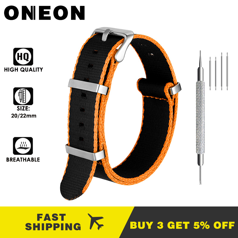 ONEON 20mm 22mm Nylon Watch Strap Orange/Grey/Blue/Red Deluxe Premium NATO Style Men Sport Wrist Watch Band For Iwatch Wristband