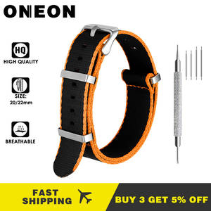 ONEON 20mm 22mm Nylon Watch Strap Orange/Grey/Blue/Red Deluxe Premium NATO Style Men Sport Wrist Watch Band for iwatch Wristband