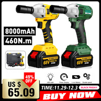 68V 8000mAh 460N.m Electric Brushless Cordless Impact Wrench With 2 Batteries 1 Charger Hand Drill Installation Power Tools