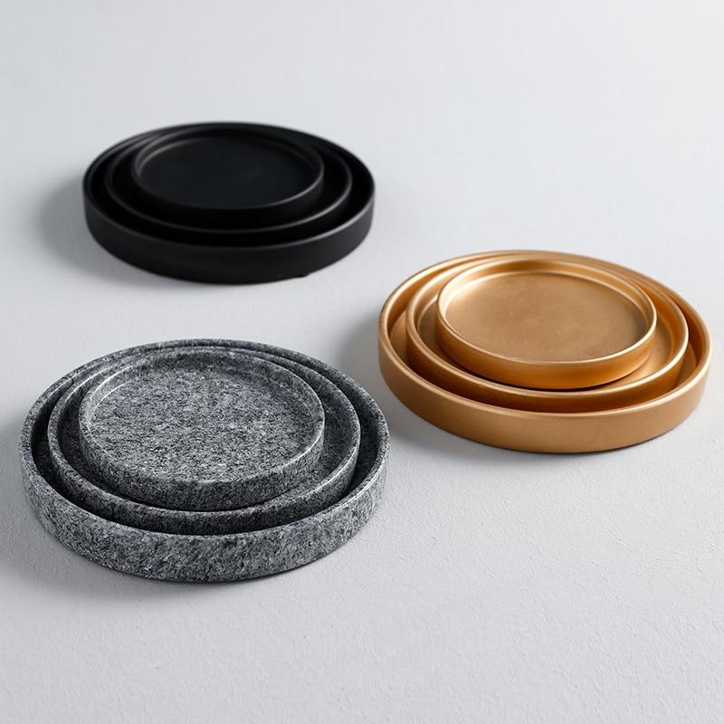 Поднос для цветочной вазы, поднос для кастрюль, керамический поднос для еды, золотое, черное, белое украшение-3