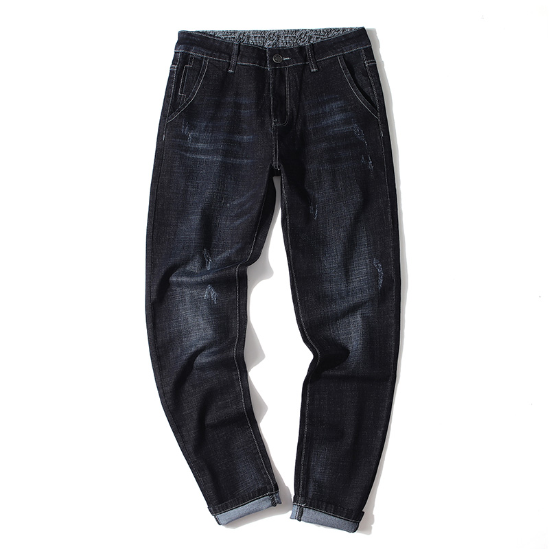 2020 Denim Business Fashion Trousers Male Brand Pants  Autumn New Men's Slim Stretch Jeans Classic Style Black