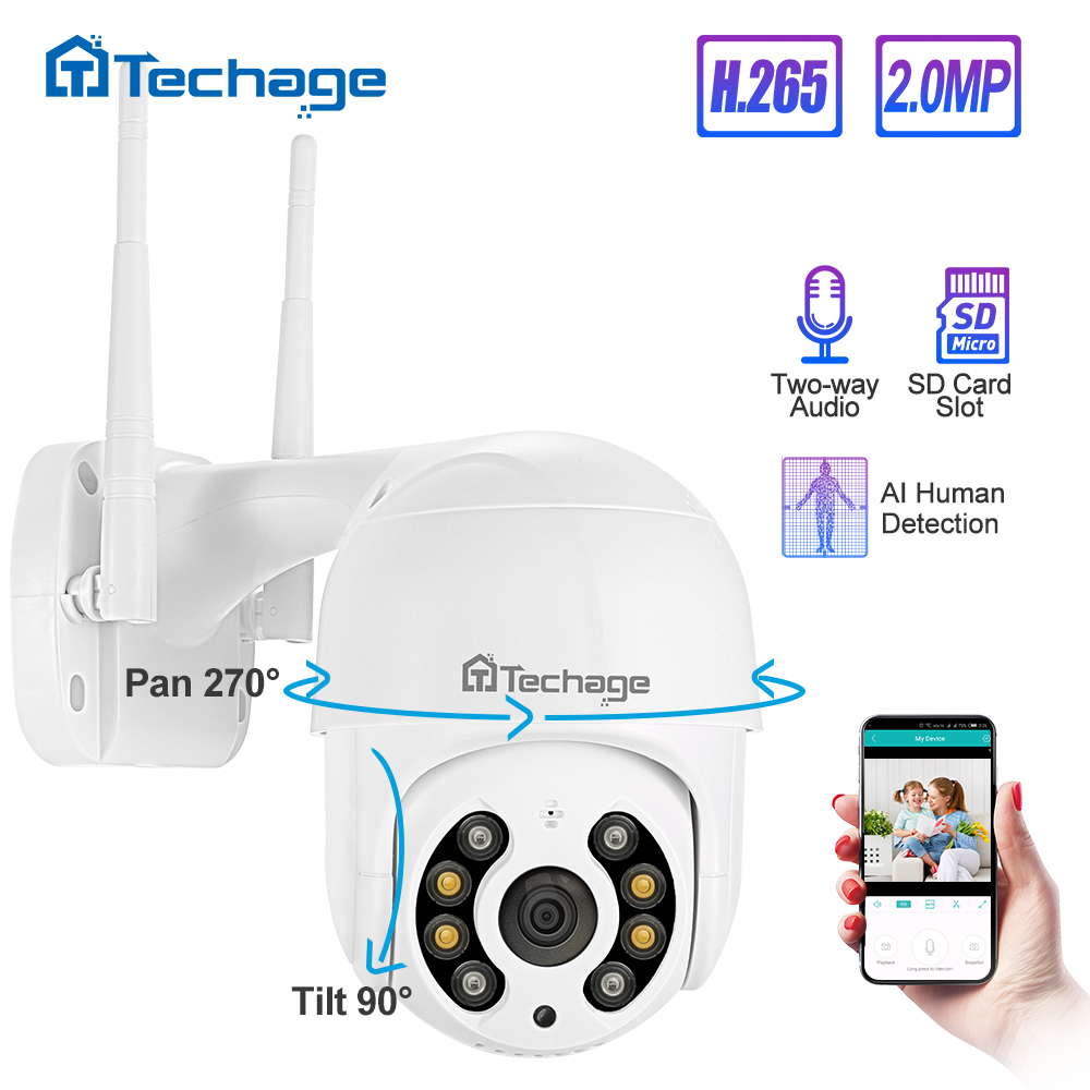 Techage 1080P 2MP Outdoor  Speed Dome Wireless PTZ IP Camera WIFI Two Way Audio AI Human Detect Onvif Security CCTV Surveillance