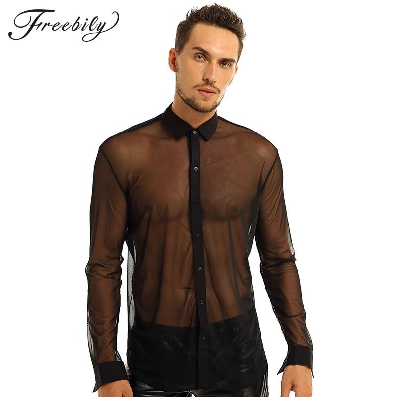 Freebily Mens Fishnet See Through Mesh T-Shirt Top Long Sleeve Undershirt Clubwear