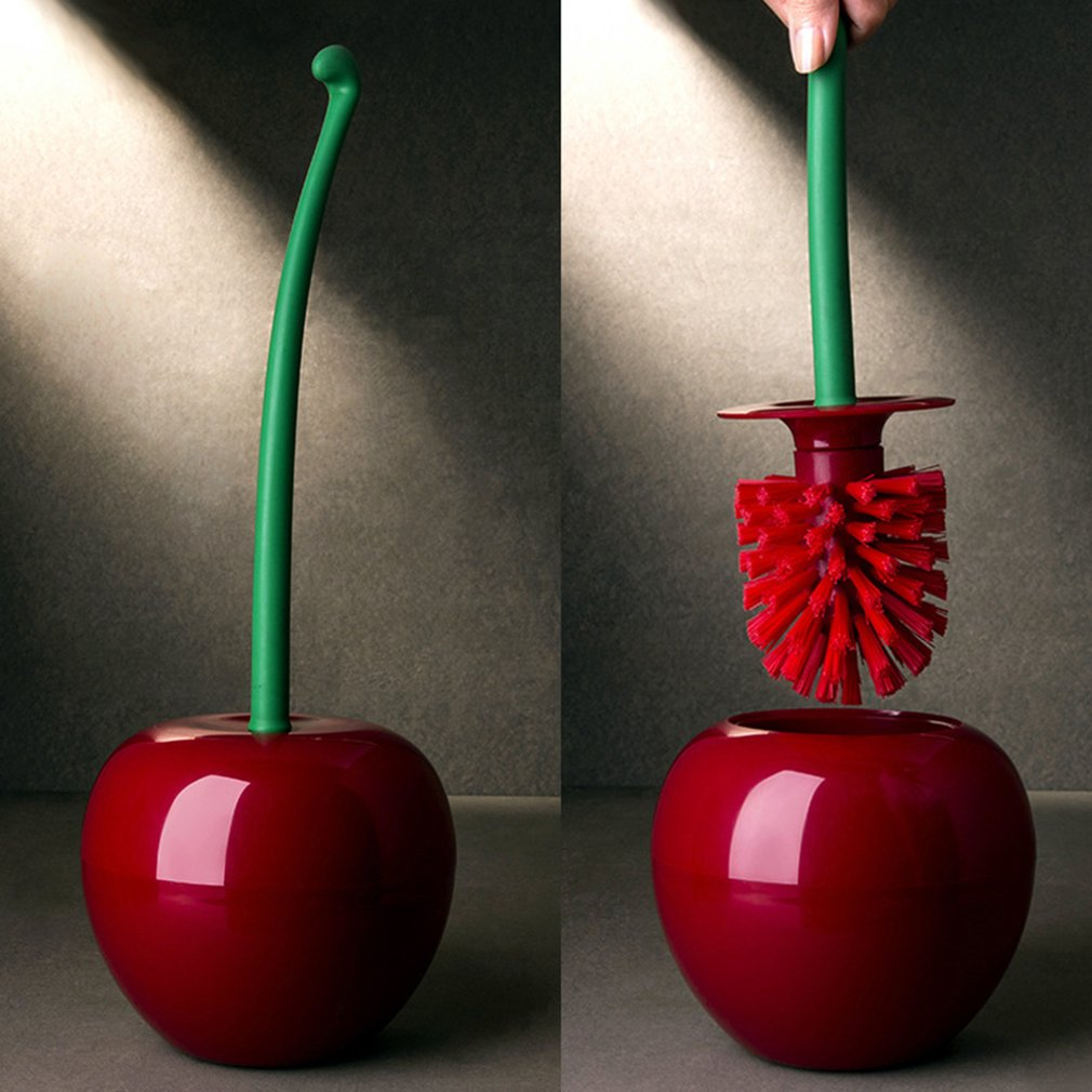 Creative Lovely Cherry Shape Lavatory Brush Toilet Brush & Holder Set Creative Cleaning Tool Plastic Bathroom Accessories Red