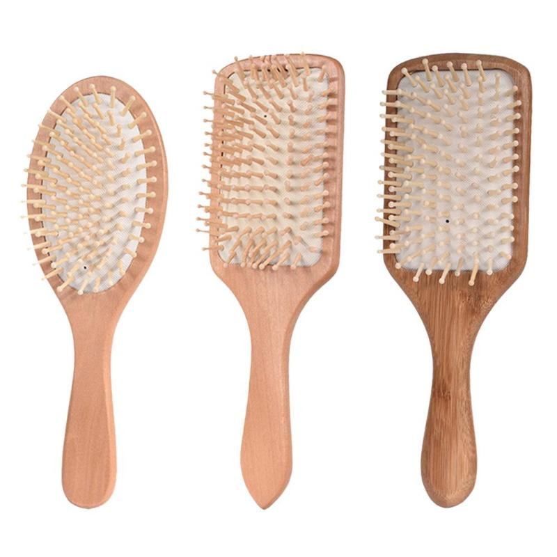 Professional Wood Comb Healthy Paddle Cushion Anti Hair Loss Massage Brush Hairbrush Comb Scalp Hair Care Bamboo Comb