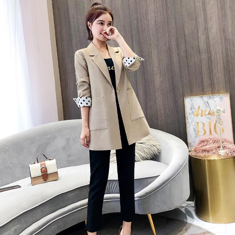 Женское пальто, осень 2019, новое, повседневное, модное, темпераментное, одноцветное, тонкое, с одной пряжкой, маленький костюм, женская