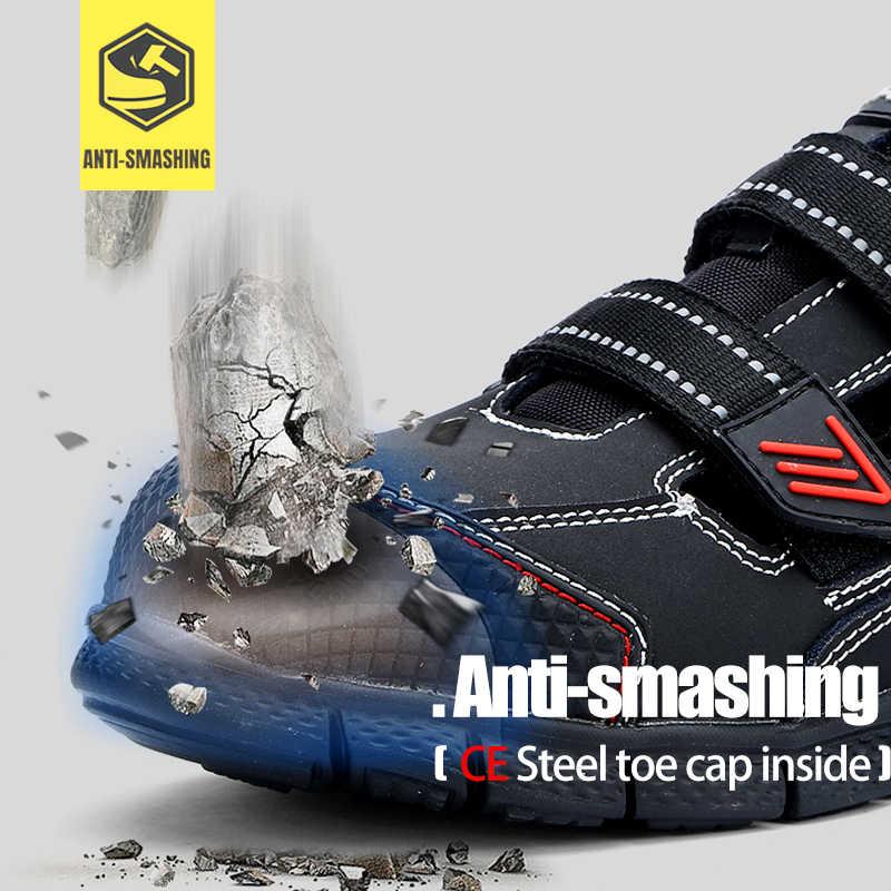 MODYF erkek çelik ayak iş güvenliği ayakkabıları hafif nefes Anti-smashing anti-delinme kaymaz yansıtıcı sneaker