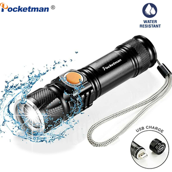 Portable LED Flashlight 5000LM Powerful LED Torch USB Inside Battery Flashlight Zoomable Torch Rechargeable Linterna Mini Torch