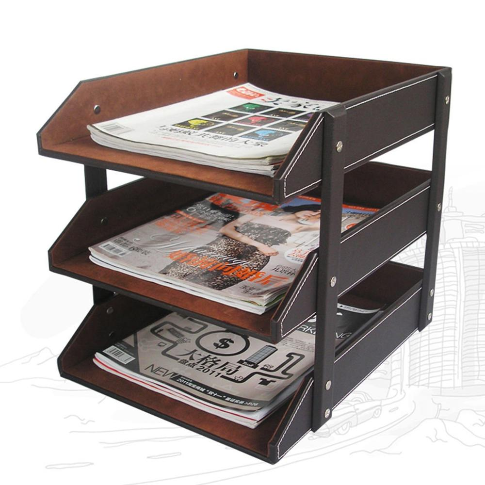 US $488.488 Ever Perfect 488 Layer PU Leather Document A48 Letter Tray File  Holder Rack Desk File Organizerorganizer rackorganizer fileorganizer  holder