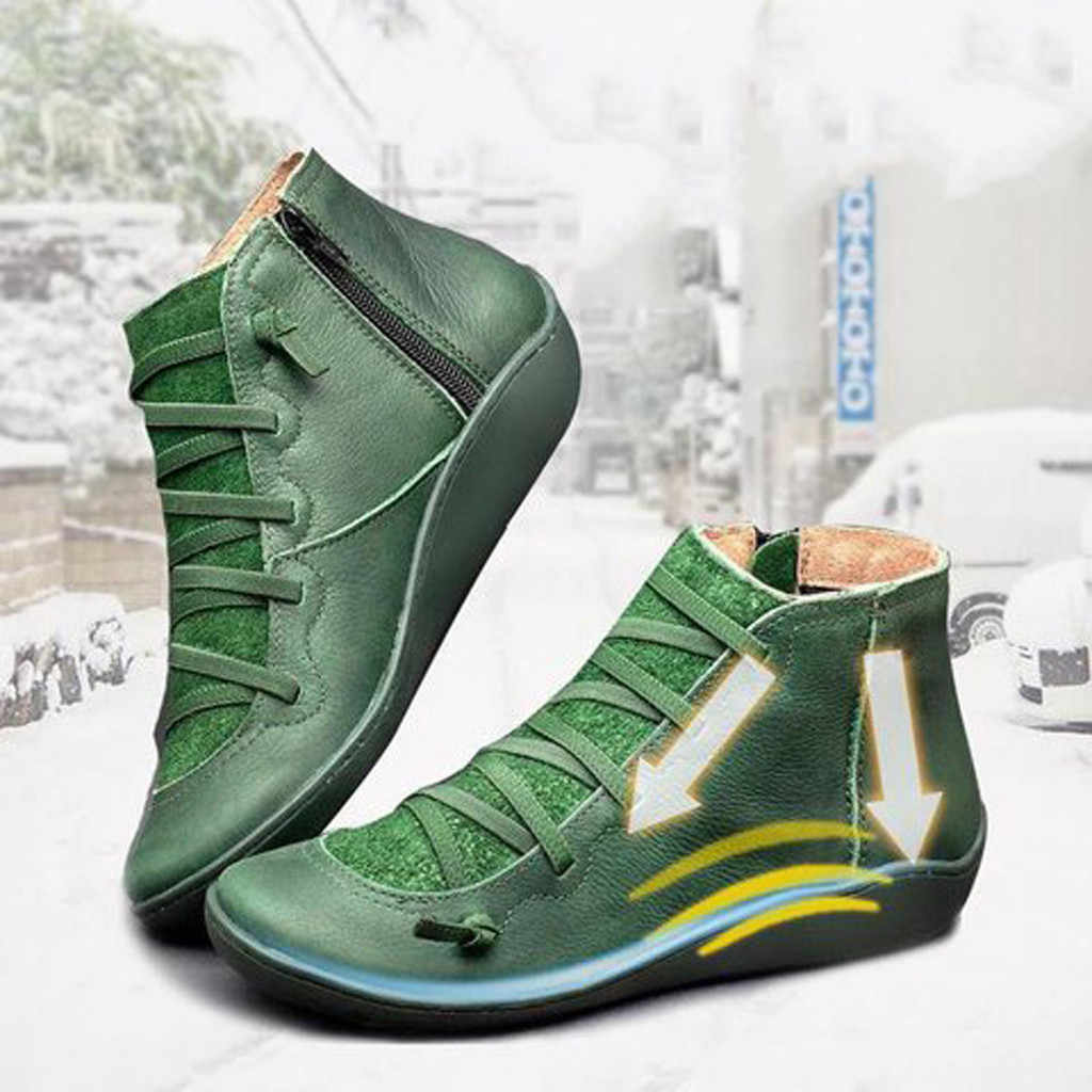 Kadın rahat düz deri Retro dantel-up çizmeler yan fermuar yuvarlak ayak ayakkabı deri yarım çizmeler Zapatos Mujer sıcak botas Mujer #20