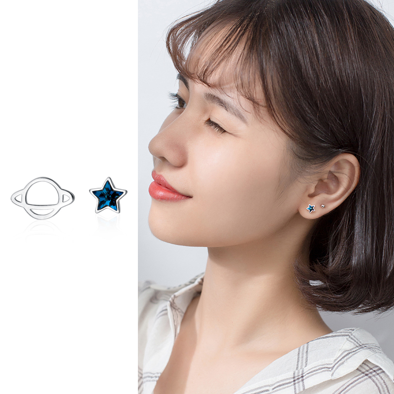 Mocanie Navy Blue Crystal Star Hollow Out Planet Asymmetry 925 Sterling Silver Stud Earring for Women Fine Jewelry Kids Gift