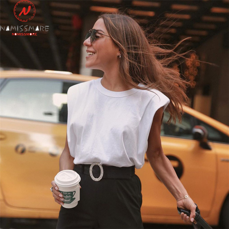 Fashion Women Summer Streetwear Casual Loose T-Shirts Patchwork Design O-Neck Sleeveless Solid Color Cotton Pullovers Top Vest