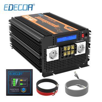 EDECOA 3500W pure sine wave inverter 12V DC to 220V AC 7000W peak with LCD display remote control off grid inverter