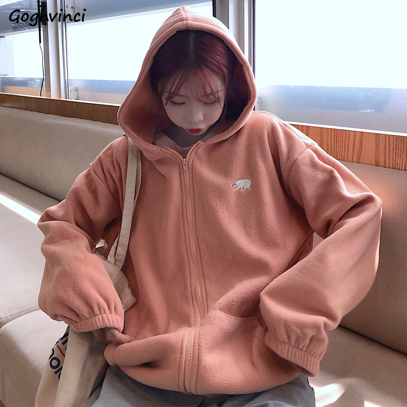Hoodies Women Korean Style Pink Long Sleeve Tops Womens Clothes Zip-up Loose Comfortable Hot Sale Simple Females Harakuku Hoodie