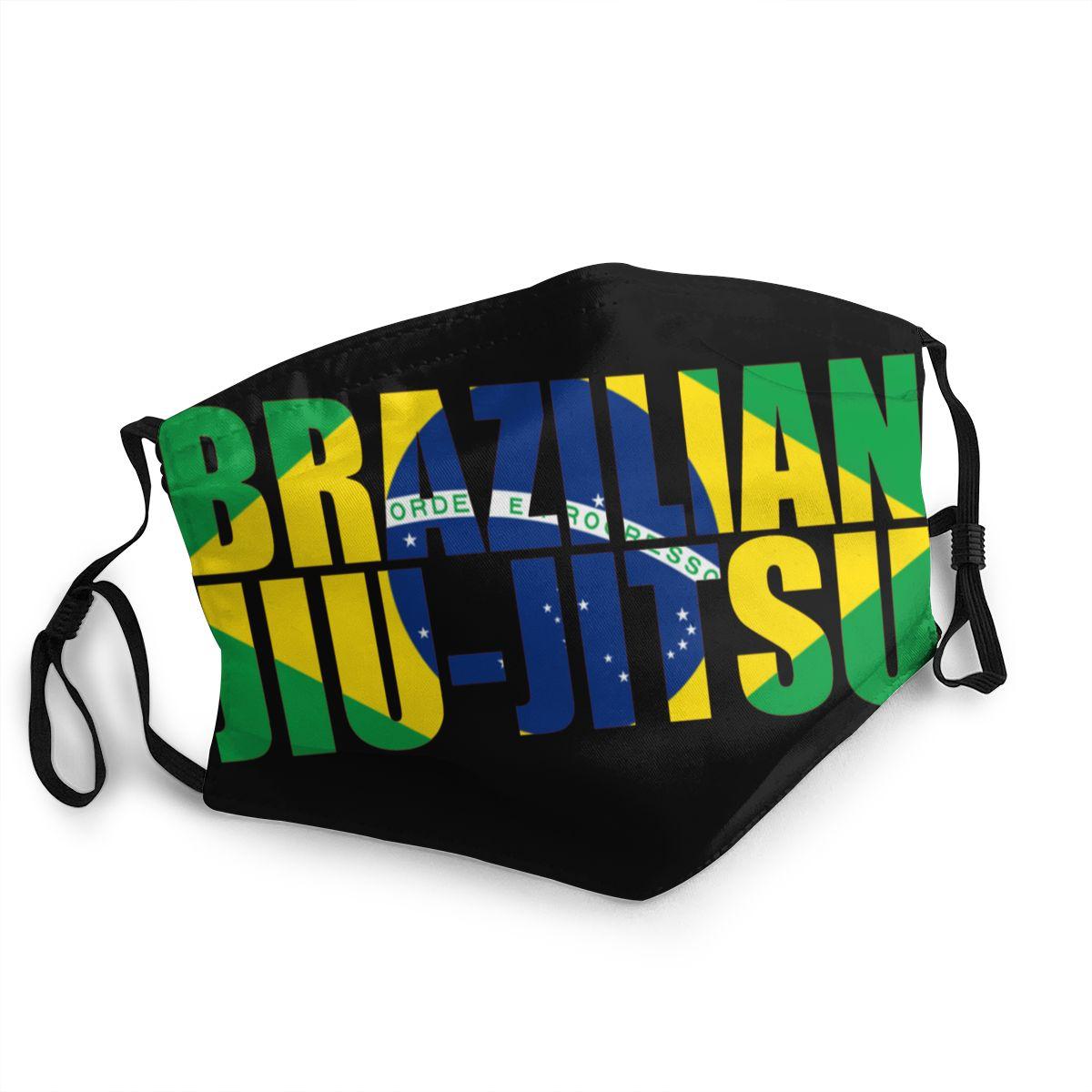 Brazilian Jiu Jitsu BJJ Brazil Flag Art Non-Disposable Face Mask Anti Bacterial Dust Mask Protection Respirator Mouth Muffle