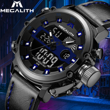 MEGALITH Fashion Men Sports Quartz Watches Waterproof Military Wristwatches Dual Display Analog Digital LED Electronic Watch Men naviforce men leather band wristwatches multifunction led waterproof dual display quartz analog date digital wrist watch 9128