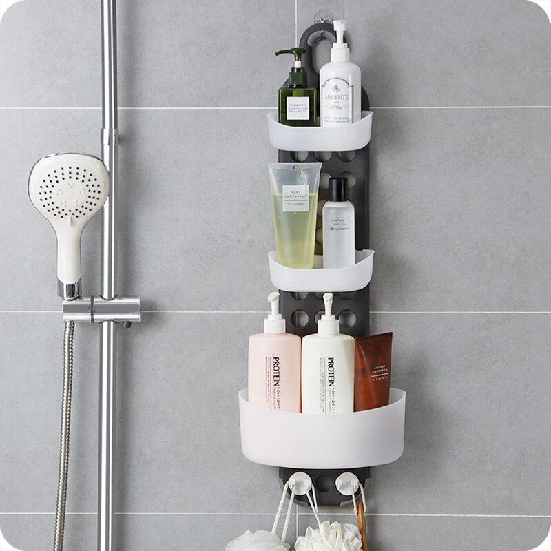 1 шт. ванная комната настенный стеллаж для хранения бесплатно пробивая Душ стойка для раковины угловая полка держатель полки ZP8071410 - 3