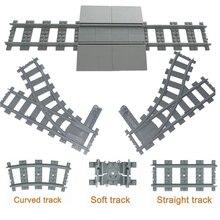 Городские поезда поезд рельс прямой и изогнутые рельсы Строительные блоки Набор Кирпичи Модель Детские игрушки совместимый основной бренд