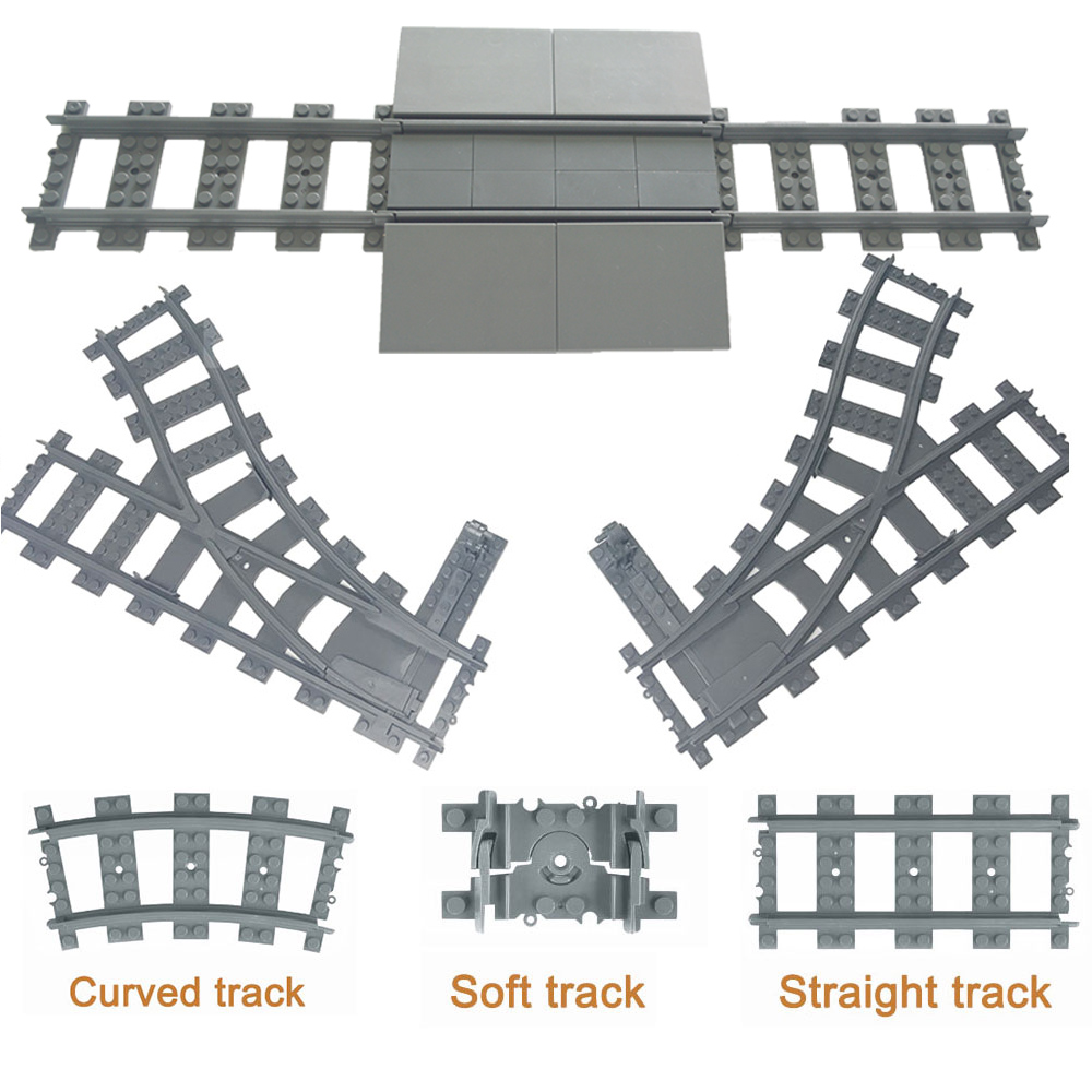 City Trains Train Track Rail Straight & Curved Rails Building Blocks Set Bricks Model Kids Toys Compatible LegoINGlys