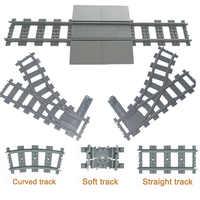 City Züge Zug Schiene Gerade & Gebogene Schienen Bausteine Set Ziegel Modell Kinder Spielzeug Kompatibel Großen Marke