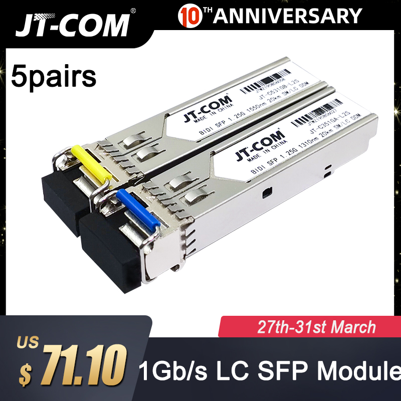 5 Pair 20KM Gigabit SM BIDI SFP Module LC Connector Optical Transceiver Single Mode Compatible With Cisco Fibra Ethernet Switch