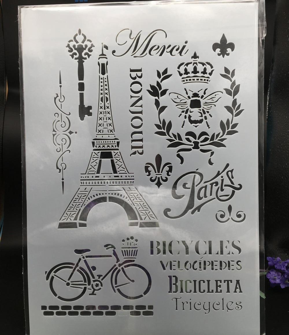 29*21cm A4 Paris Eiffel Tower DIY Layering Stencils Wall Painting Scrapbook Coloring Embossing Album Decorative Card Template