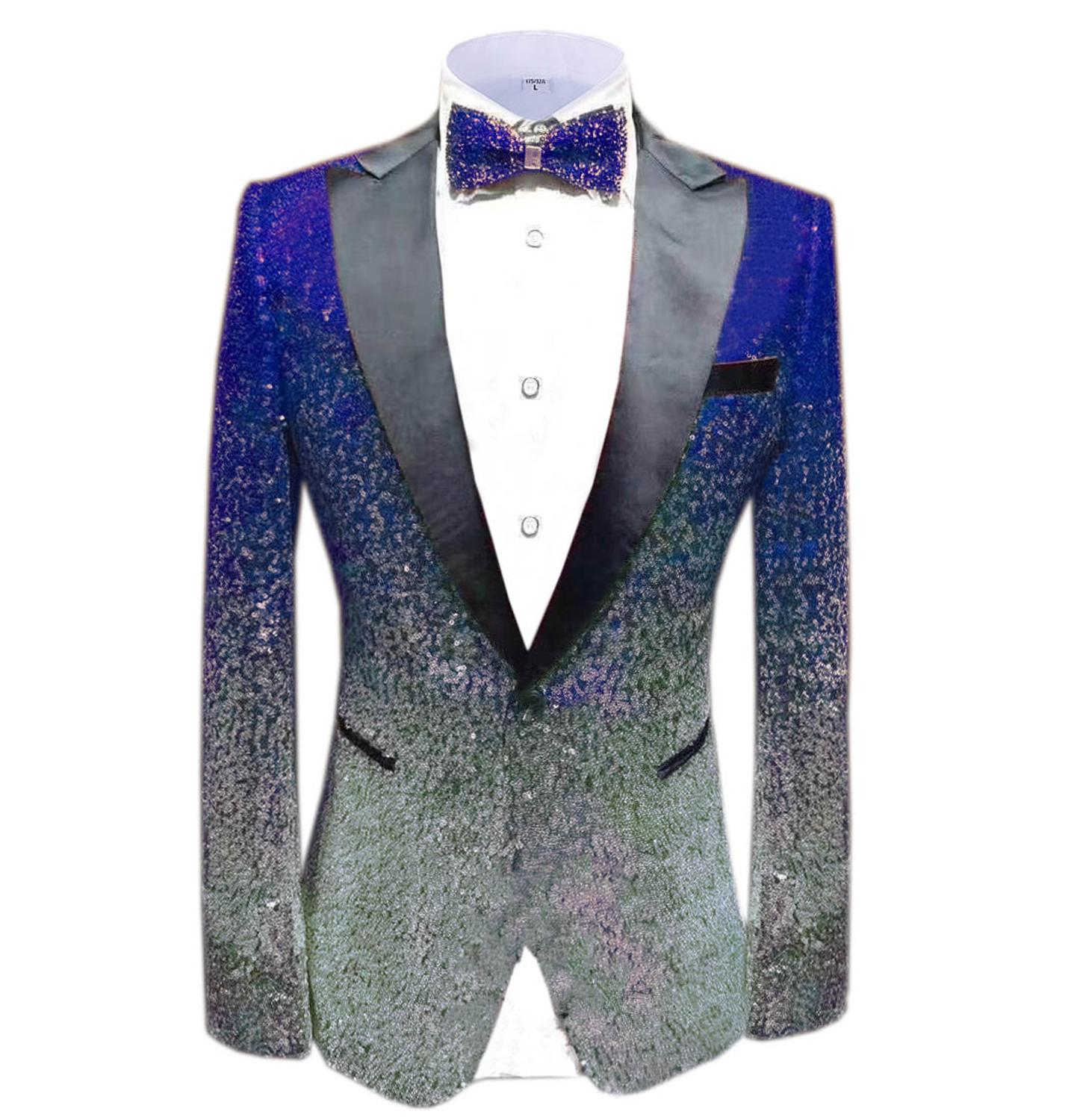 Mens Fashion Tweed Suits Blazer Prom Party Tuxedos Single Breasated Dinner Jacket