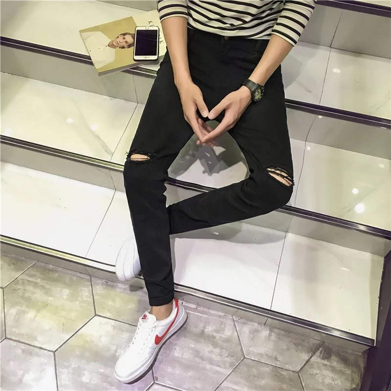 Foreign Trade Original Garment Spring And Summer Spring Tight-Fit With Holes Casual Pants Male STUDENT'S Pants Trend Autumn Skin