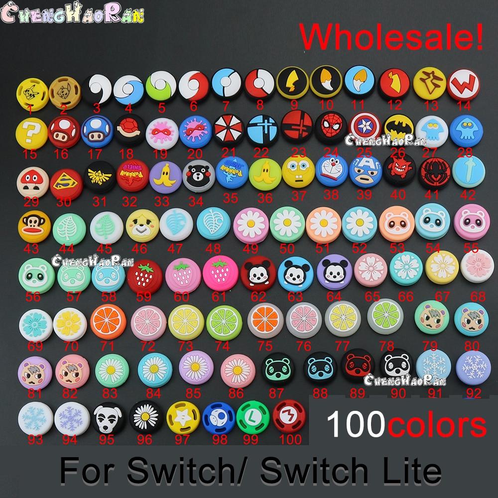 Tapas de pulgar análogas de silicona para Nintendo Switch Lite NS, 100 Uds.