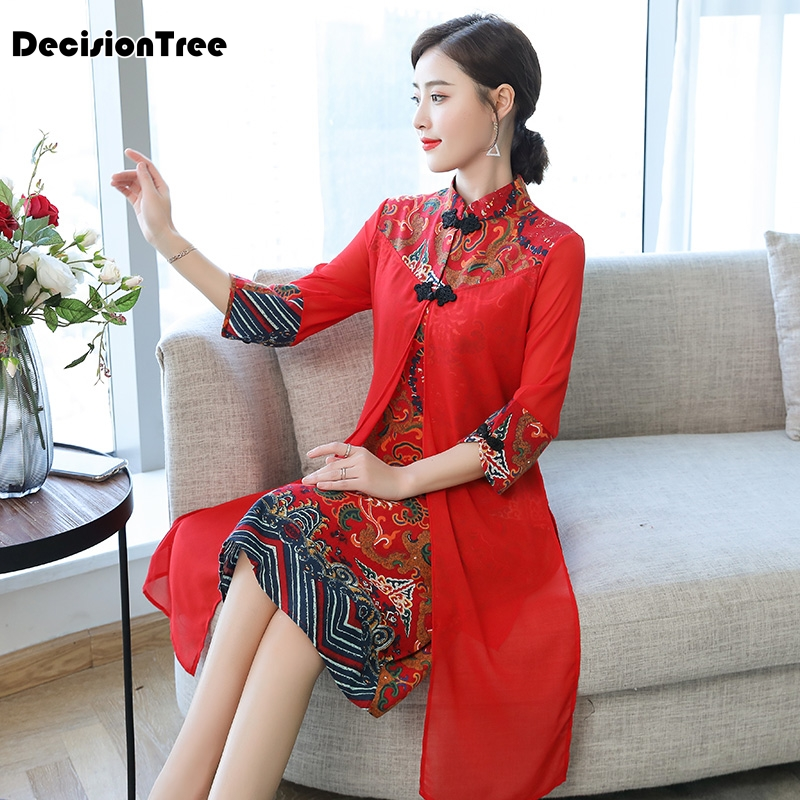 2019 Cheongsam Ao Dai Vietnam Ao Dai Qipao Asian Dress Cotton Linen Robe Oriental Floral Print Folk Style Vintage Casual Retro