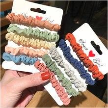 Chouchous pour cheveux, 6 ou 5 pièces, cordon de cravate, couleur bonbon, Satin, bandeau, accessoires pour cheveux