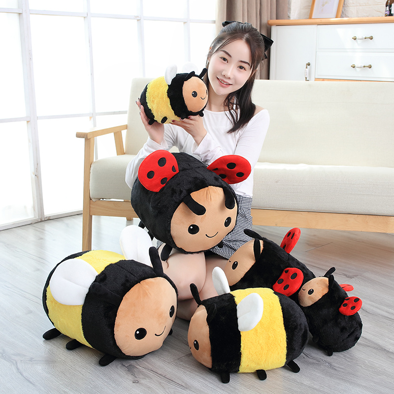 20-40CM New Cute Plush Bee Ladybug Child Toy Children Birthday Gift Cute Insect Pillow Doll Doll Sleeping Pillow Soft Sofa Decor