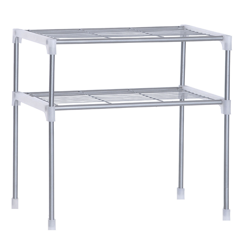 Adjustable Steel Microwave Oven Shelf Detachable Rack Kitchen Tableware Shelves Home Bathroom Storage Rack Holder