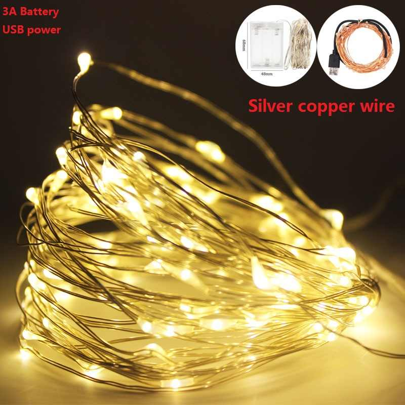 3XAA סוללה led מחרוזת אורות 2M 5M 10M 20-100LEDS כסף חוט 5V פיות אורות usb led גרלנד luces led decoracion dormitorio
