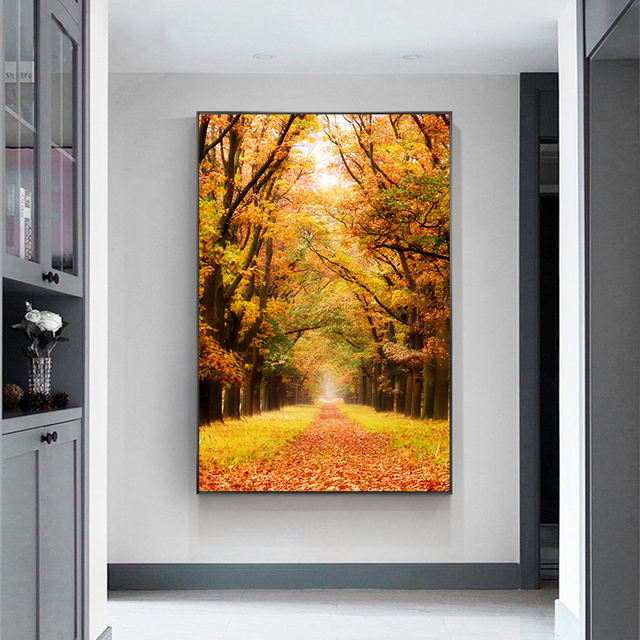 De Hoge Veluwe National Park of Netherlands Autumn Leaves Poster Autumn Canvas Painting Prints Wall Art Pictures for Home Decor 4