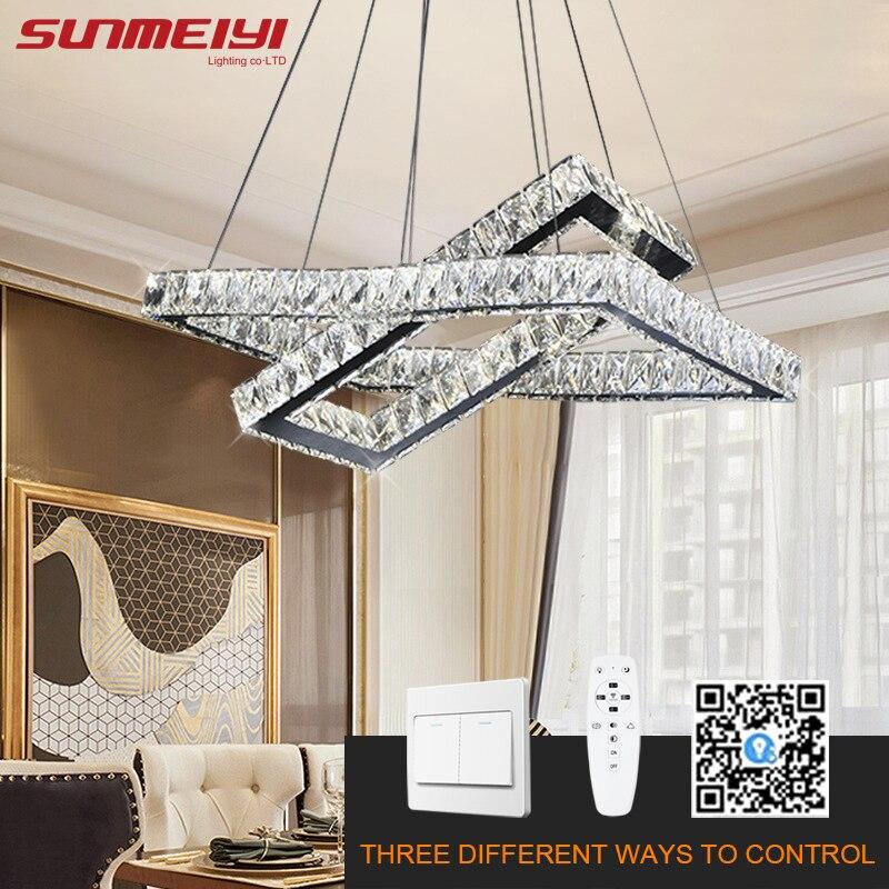 crystal led chandeliers dimmable app control modern kitchen chandelier lighting smart lamp for living room bedroom lampadario