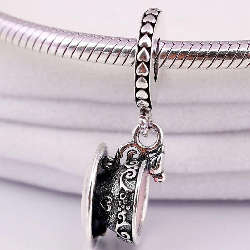 Original Pink Enamel Lacework Enchanted Tea Cup Pendant Beads Fit 925 Sterling Silver Charm Pandora Bracelet Bangle Diy Jewelry(China)